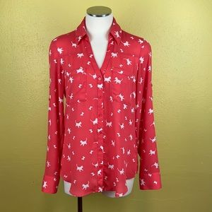Express cat and butterfly button down shirt size S